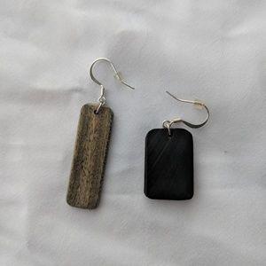 "Jewelry - NWOT ""odd couple"" handmade artisan wood earrings"